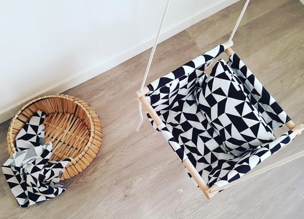 balançoire en tissu pour bébé/enfant en bas âge, tissu géométrique noir et blanc, jeu d'intérieur
