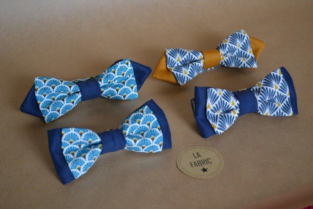 Nœud papillon bleu marine et bleu claire