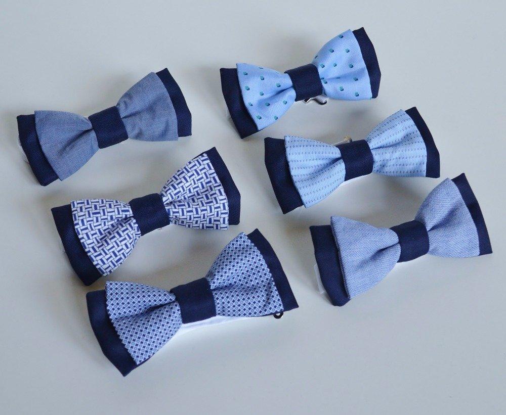 Noeud papillon bleu marine et motifs bleu et blancs