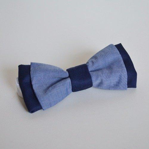 Noeud papillon bleu marine et bleu jean