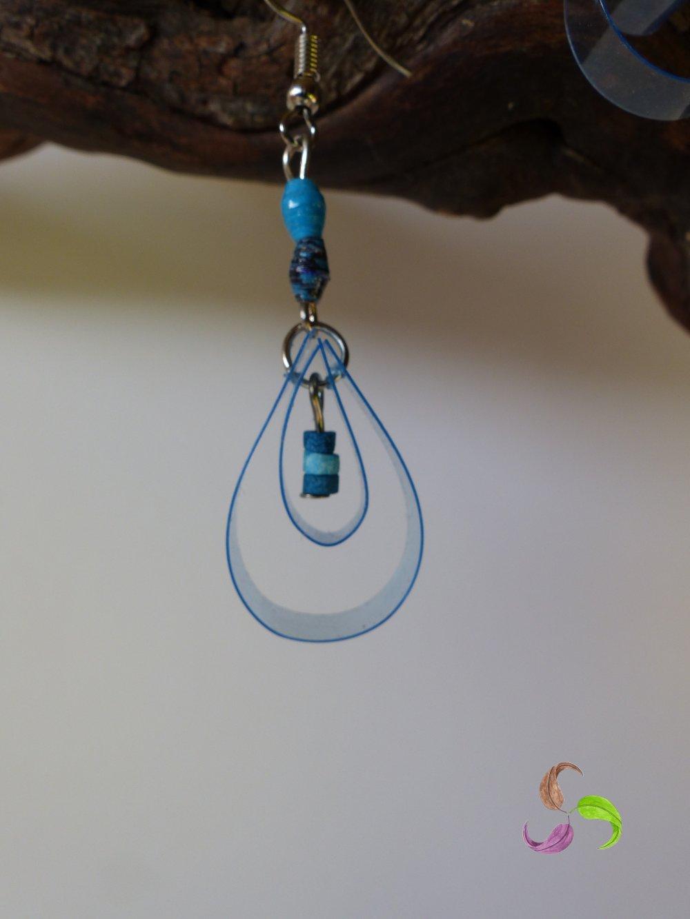 Boucles d'oreilles en papier recyclé et plastique - artisanal - fait main - fabriqué en Bretagne