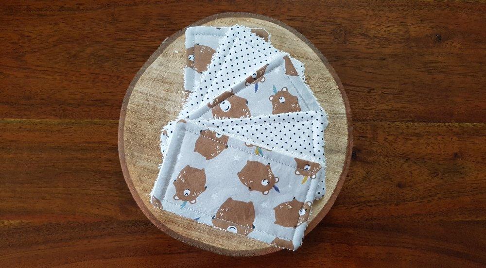 Lingettes lavables / Débarbouillettes zéro déchet marron et grise: Simon l'Ourson, pour bébé et maman