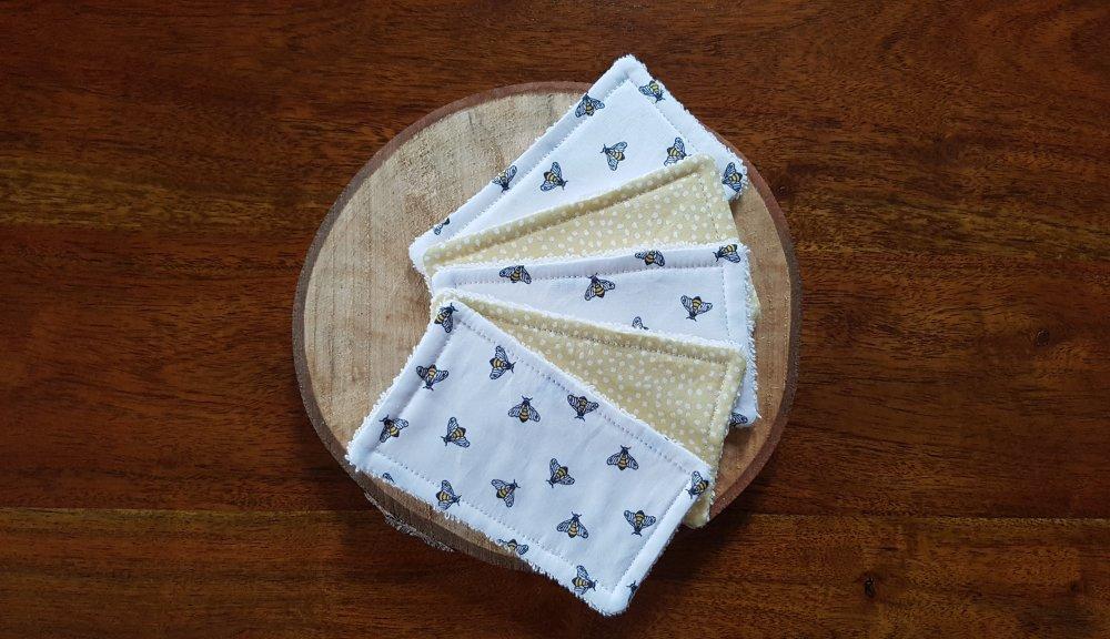 Lingettes lavables / Débarbouillettes zéro déchet jaune et blanc: Mireille L'Abeille, pour bébé et maman