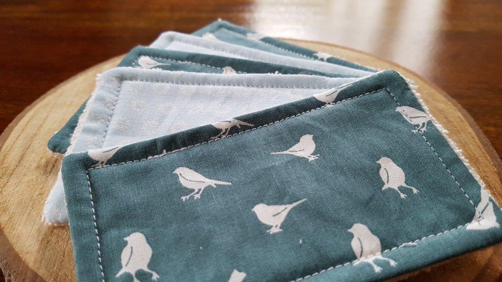 Lingettes lavables zéro déchet vert émeraude et bleu ciel: Bruno le Moineau,pour bébé et maman