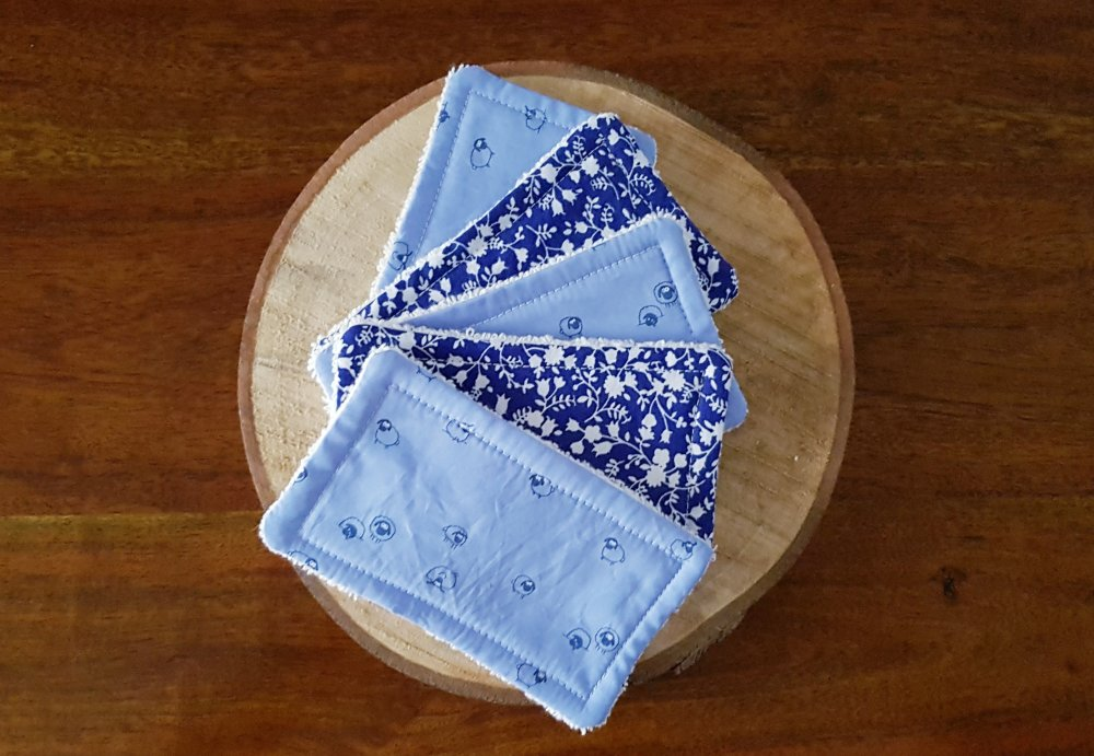 Lingettes lavables / Débarbouillettes zéro déchet bleu et blanc : Gaston le Mouton, pour bébé et maman
