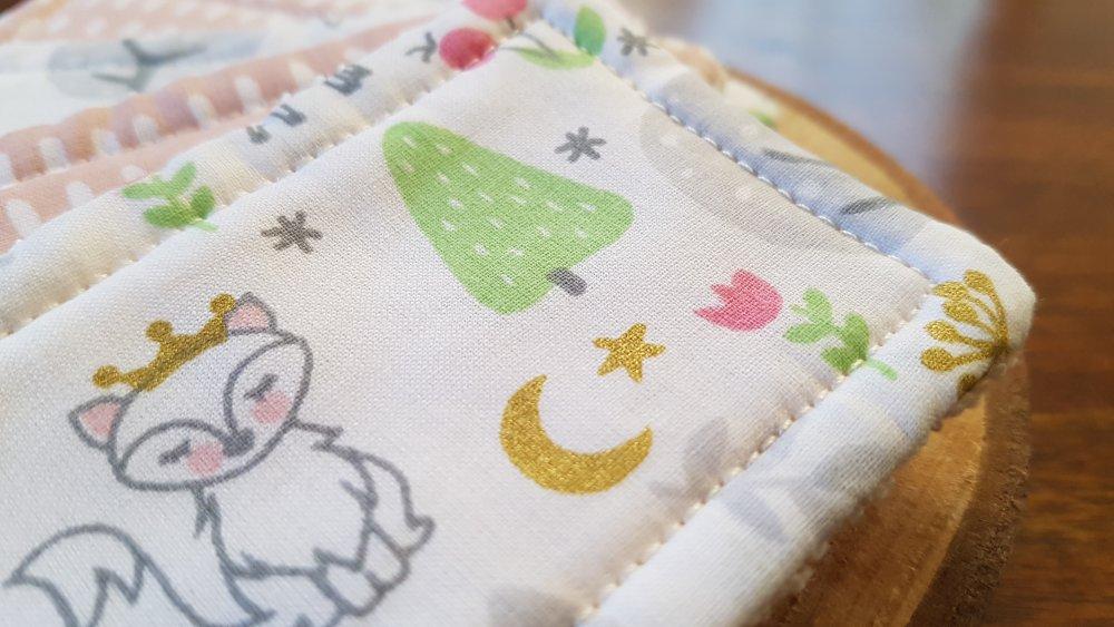 Lingettes lavables / Débarbouillettes zéro déchet rose, vert et blanc : Leonarde la renarde, pour bébé et maman