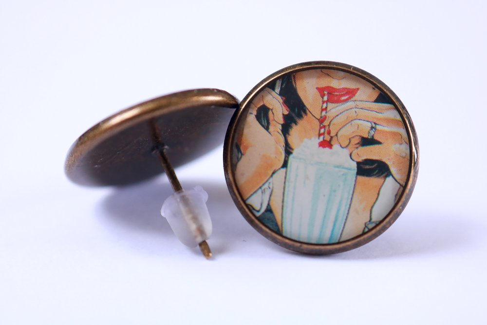 """Puces d'oreille en résine """" crème glacée """" (16mm, image, laiton couleur bronze, idée cadeau pour femme et fille)"""