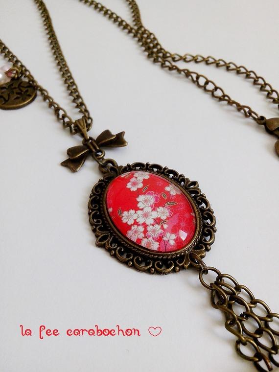 bague ovale *papier japonais* washi fleurs cerisier japon rose rouge, cabochon verre