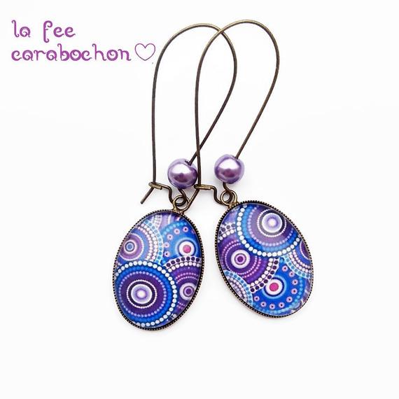 bracelet cabochon * mandala violet bleu * géométrie, cercle, ronds, ethnique, moderne