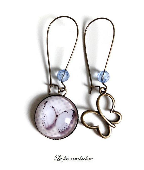 boucles d'oreilles dépareillées * papillon retro bleu * pois pastel, cabochon verre