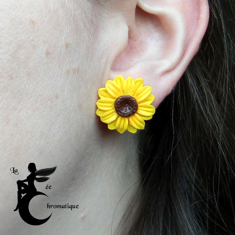 Boucles d'oreilles tournesols