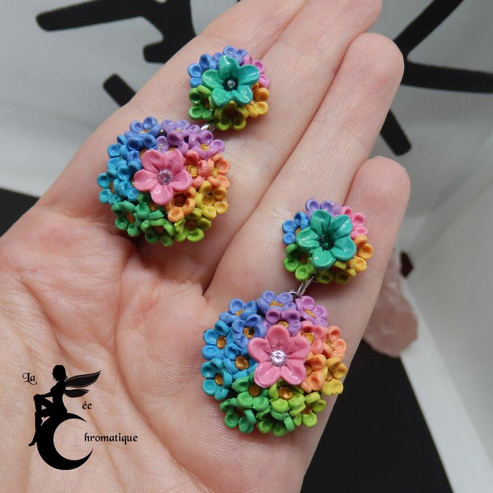 """Image De Parterre De Fleurs boucles d'oreilles """"parterre de fleurs arc en ciel"""""""