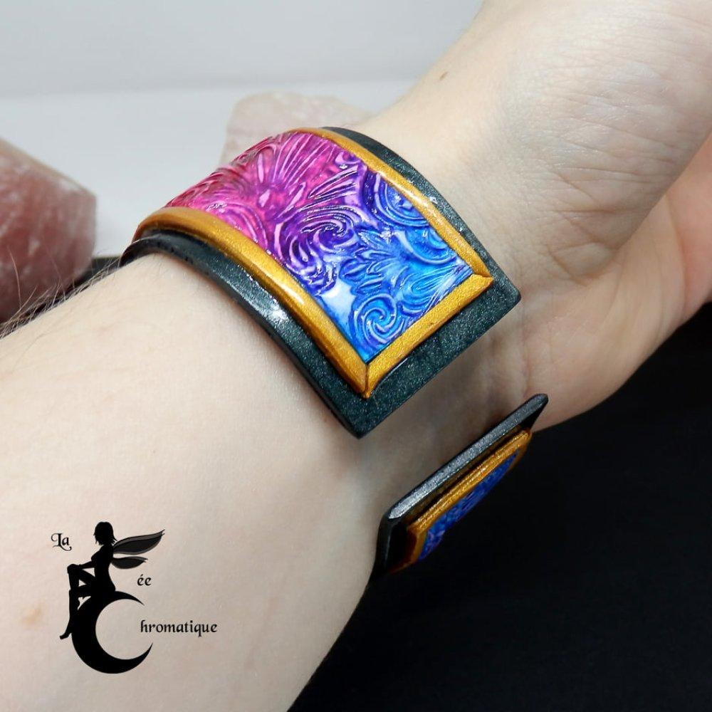 Bracelet Volutes Chromatiques bleu et rouge