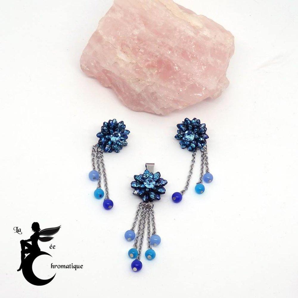 Parure Trio de perles bleues