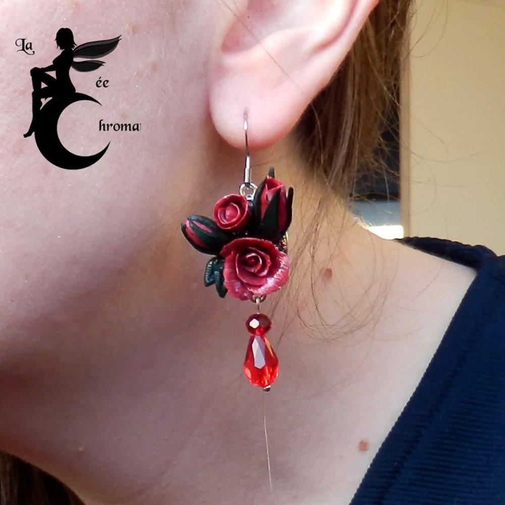 """Boucles d'oreilles """"Rosier Rouge"""""""