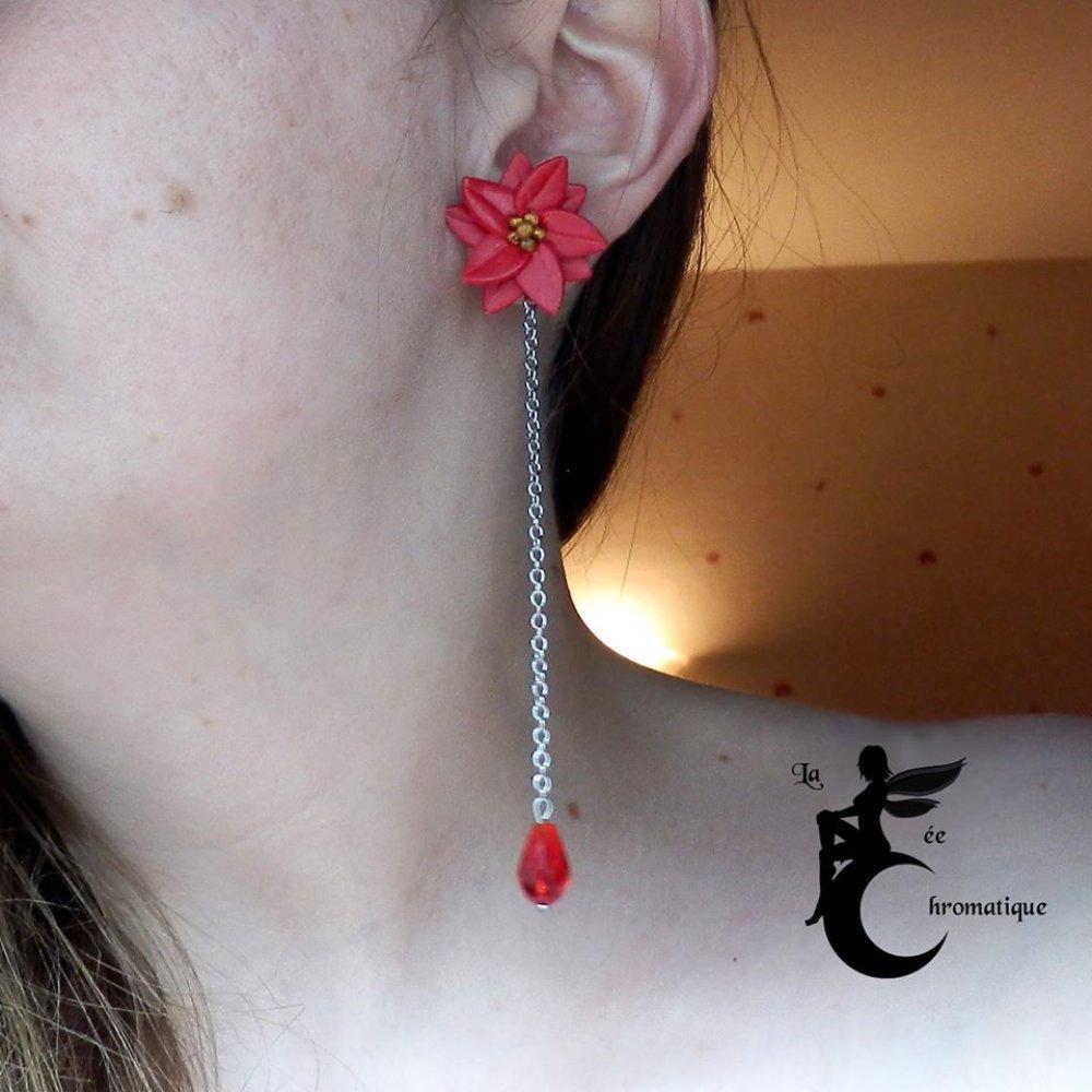 """Boucles d'oreilles longues """"Poinsettia Rouge"""""""