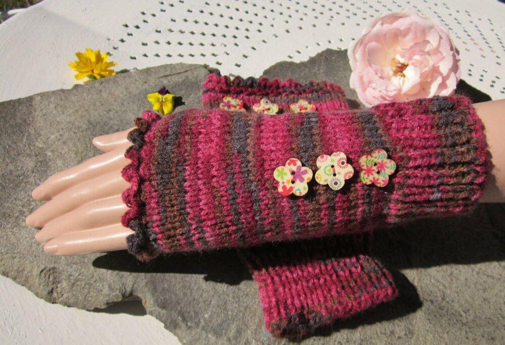 Manchettes  femme en laine mélangée boutons fleurs style bohème