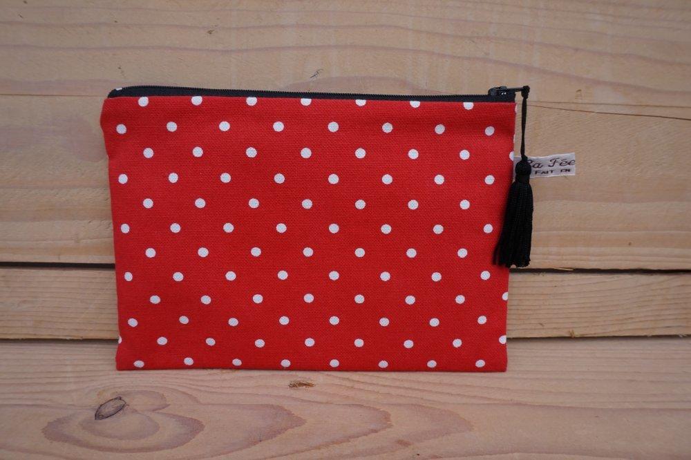 Pochette grand modèle, zip 20 cm rouge imprimé petits pois blancs.