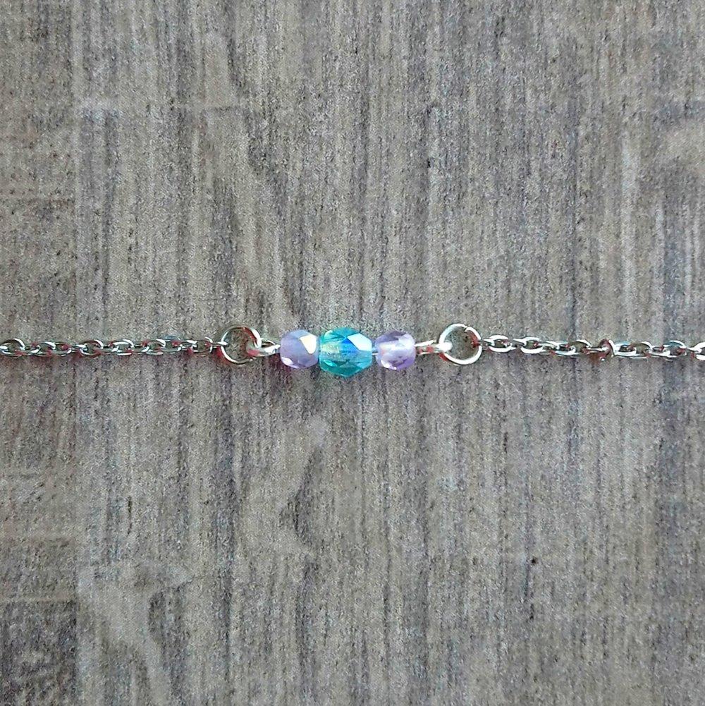 Bracelet Berlingot Bleu Aqua et Mauve