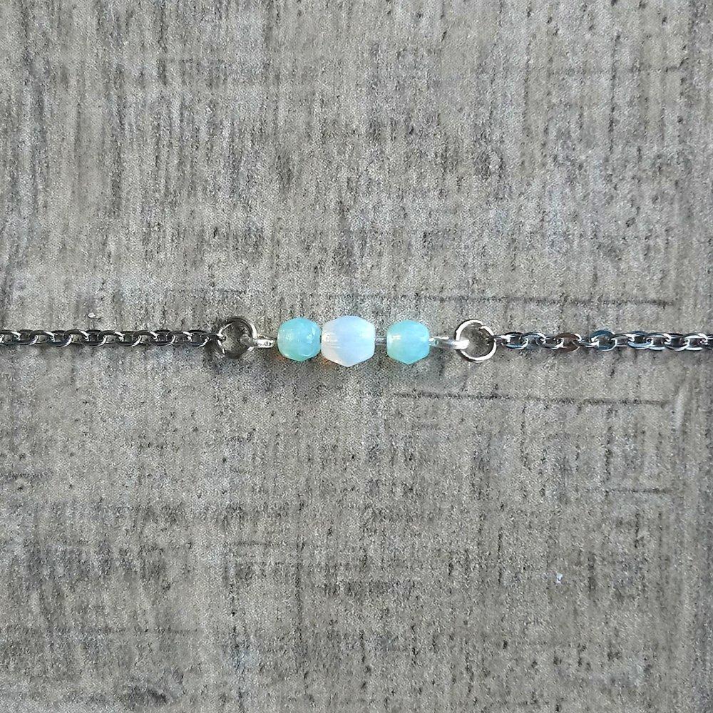 Bracelet Berlingot Blanc Opal et Vert d'Eau
