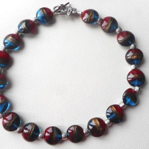 Collier, collier en perle de verre de murano