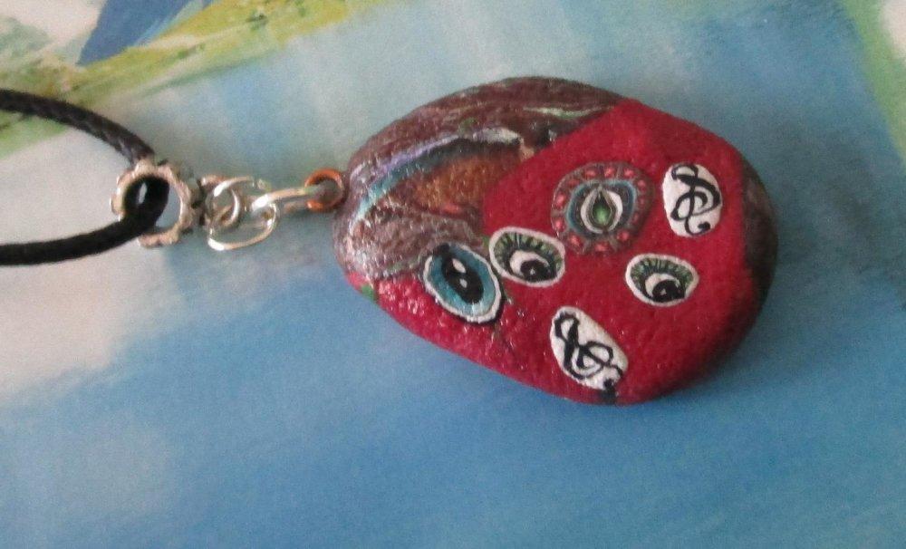 collier polymère unique oeil de la chance porte bonheur collier amour et musique pâte polymère pierre de chance