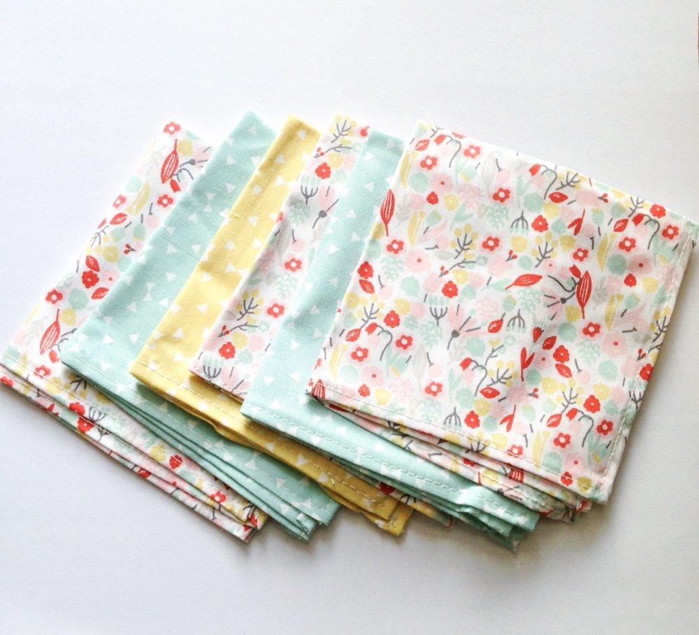 Lot de 6 mouchoirs en coton oeko-tex