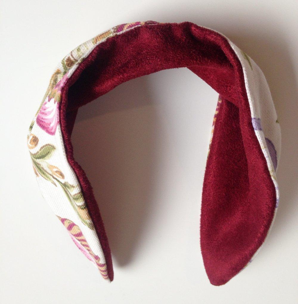 Headband bordeaux et fleurs, bandeau, coiffure