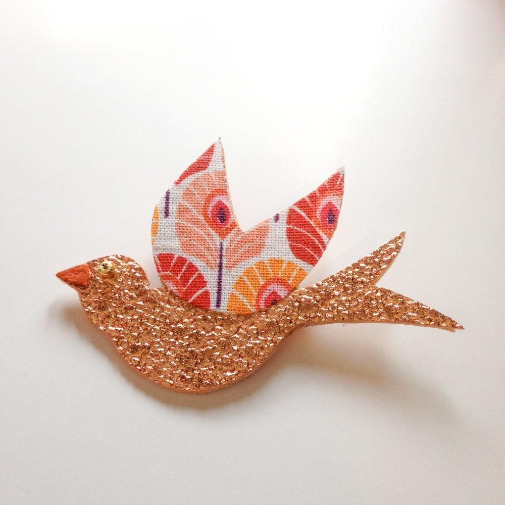 broche oiseau bleu rose gold