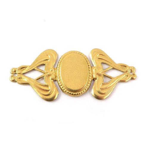 1x support bracelet cabochon 11x16 style art nouveau laiton brut naturel 51mm x 23mm (v-057)