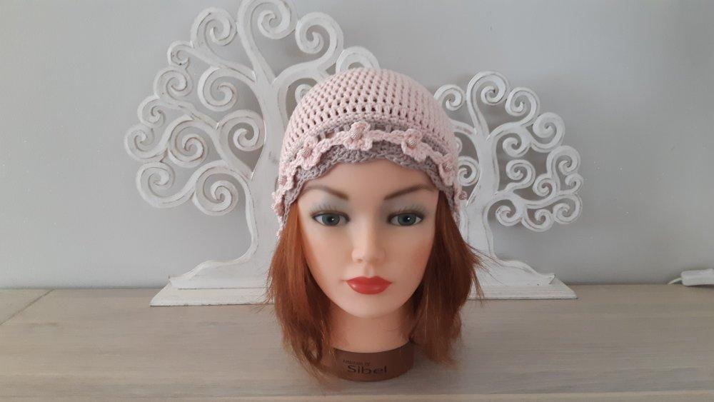 Bonnet Bohème femme rose et taupe en coton crocheté main