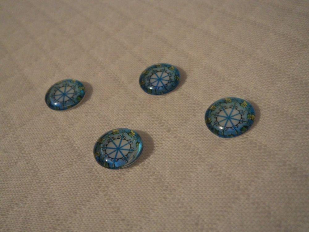 lot de 2 cabochons en verre de 12 mm thème de la nature: croix, étoile, cercle graphique