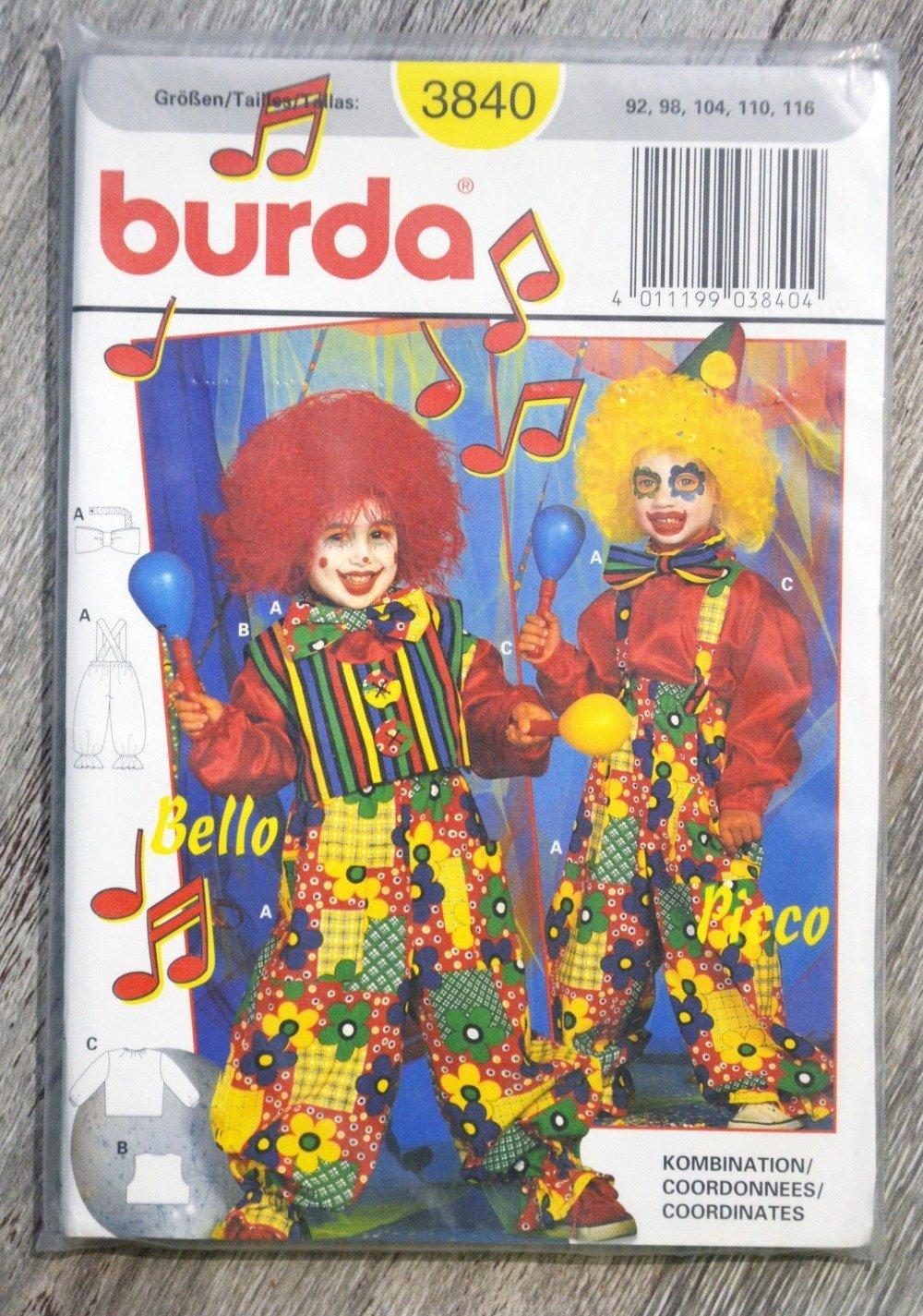 Pochette patron Burda n°3840 - Déguisement clown enfant