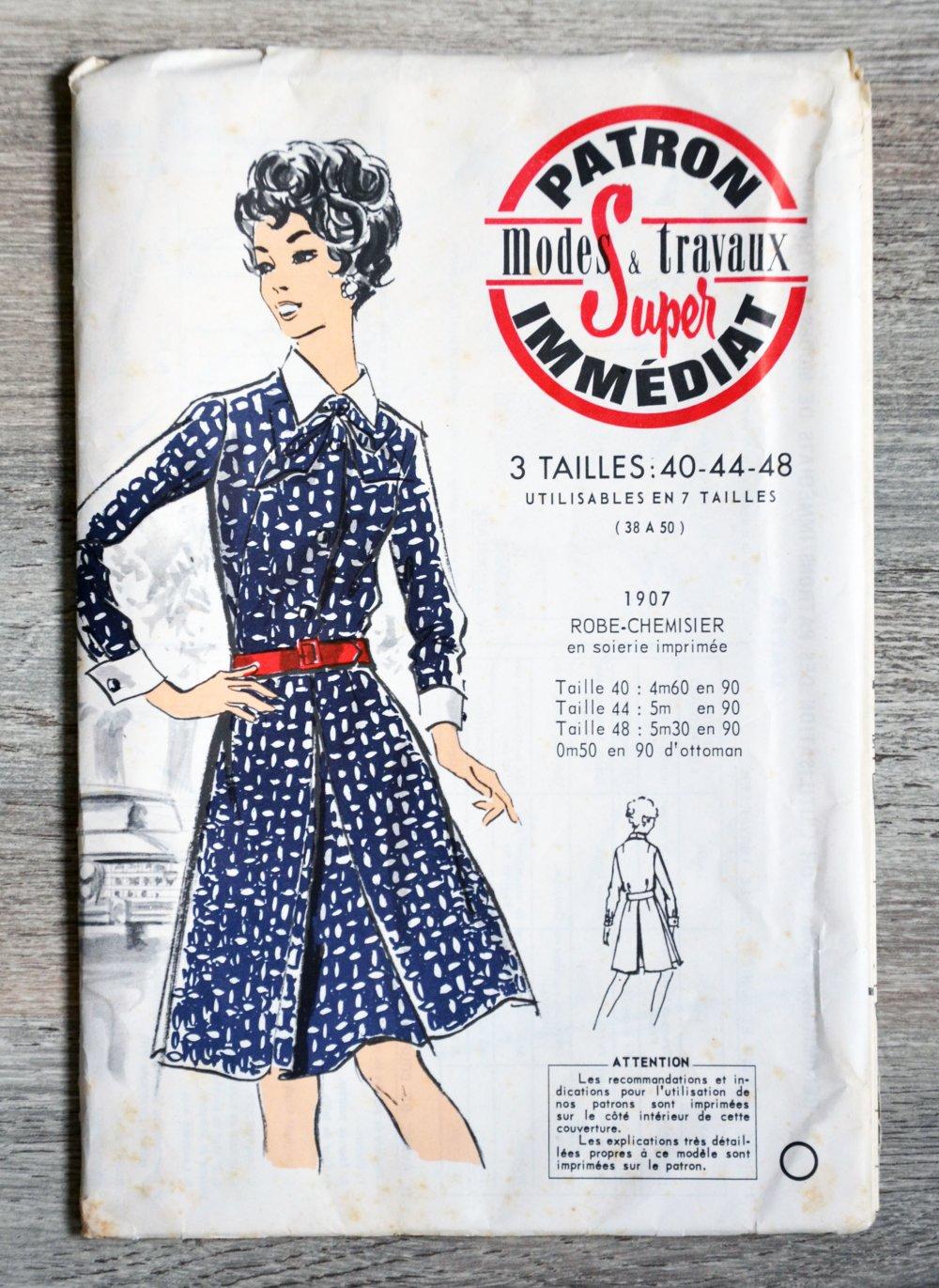 Patron Modes & Travaux 1907 - Robe-chemisier (Vintage)