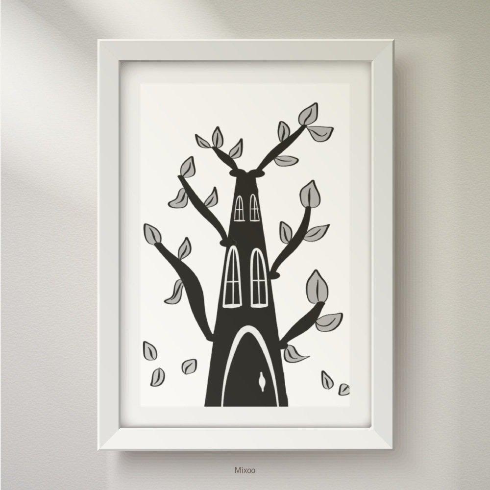 Affiche/poster/illustration, reproduction, dessin arbre cabane pour chambre d'enfant