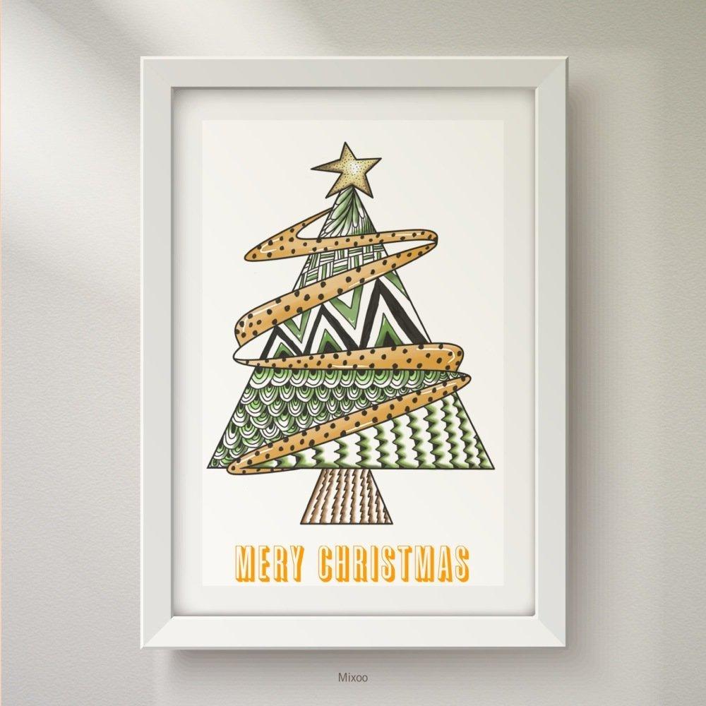 Afficheposterdéco Personnaliséepersonnalisable Illustration Sapin Dessin Sapin Art Numérique Reproduction Arbre De Noël