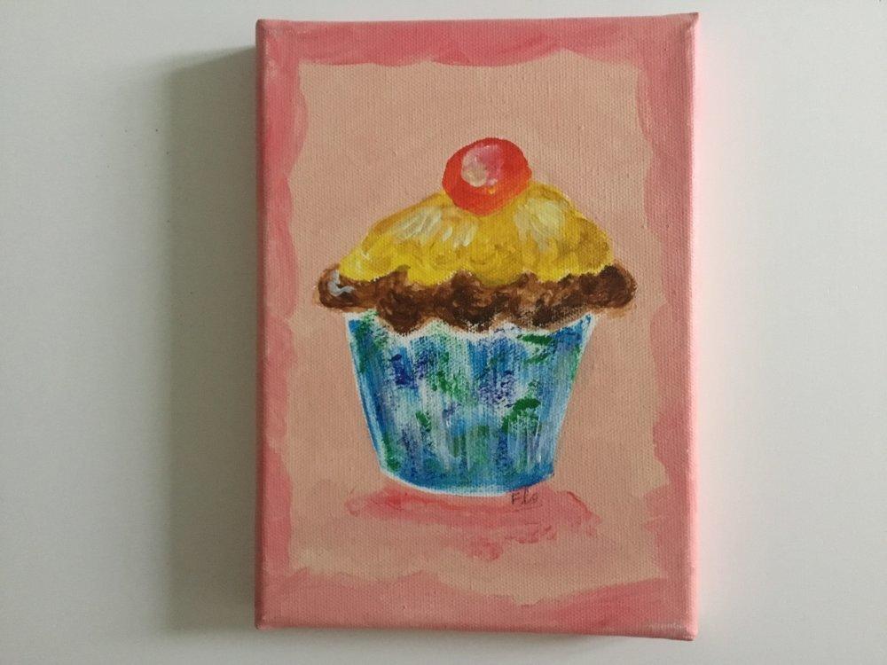cup cake, gateau, pâtisserie, gourmandise, posé sur toile, décoration de cuisine