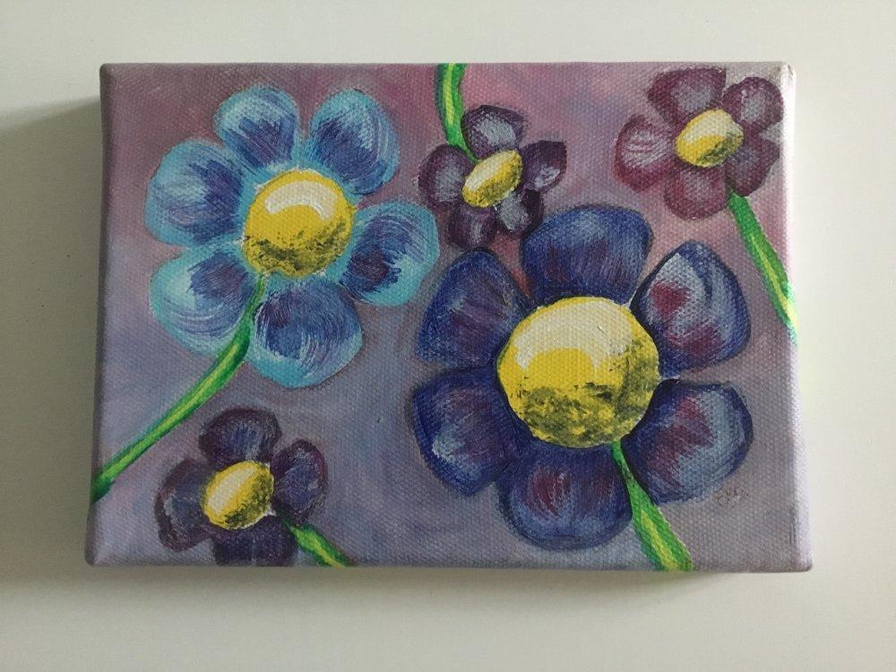 Toile peinture acrylique, tableau mural fleur,