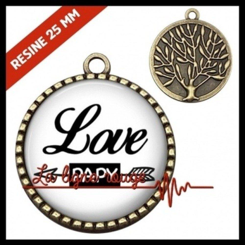 Pendentif couleur bronze - cabochon love papy ( 6438 )