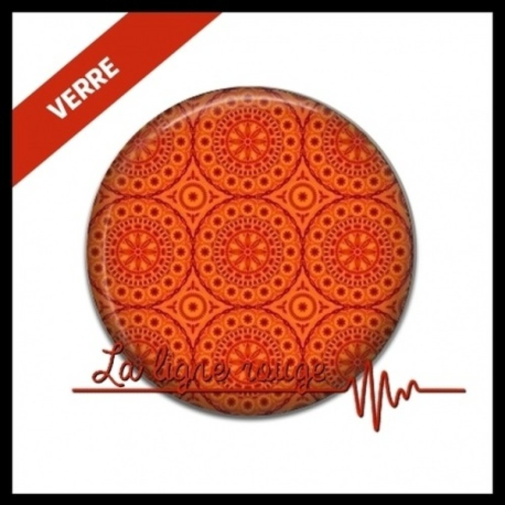 cabochon verre 25 mm - cabochon motif orange ( 232 )