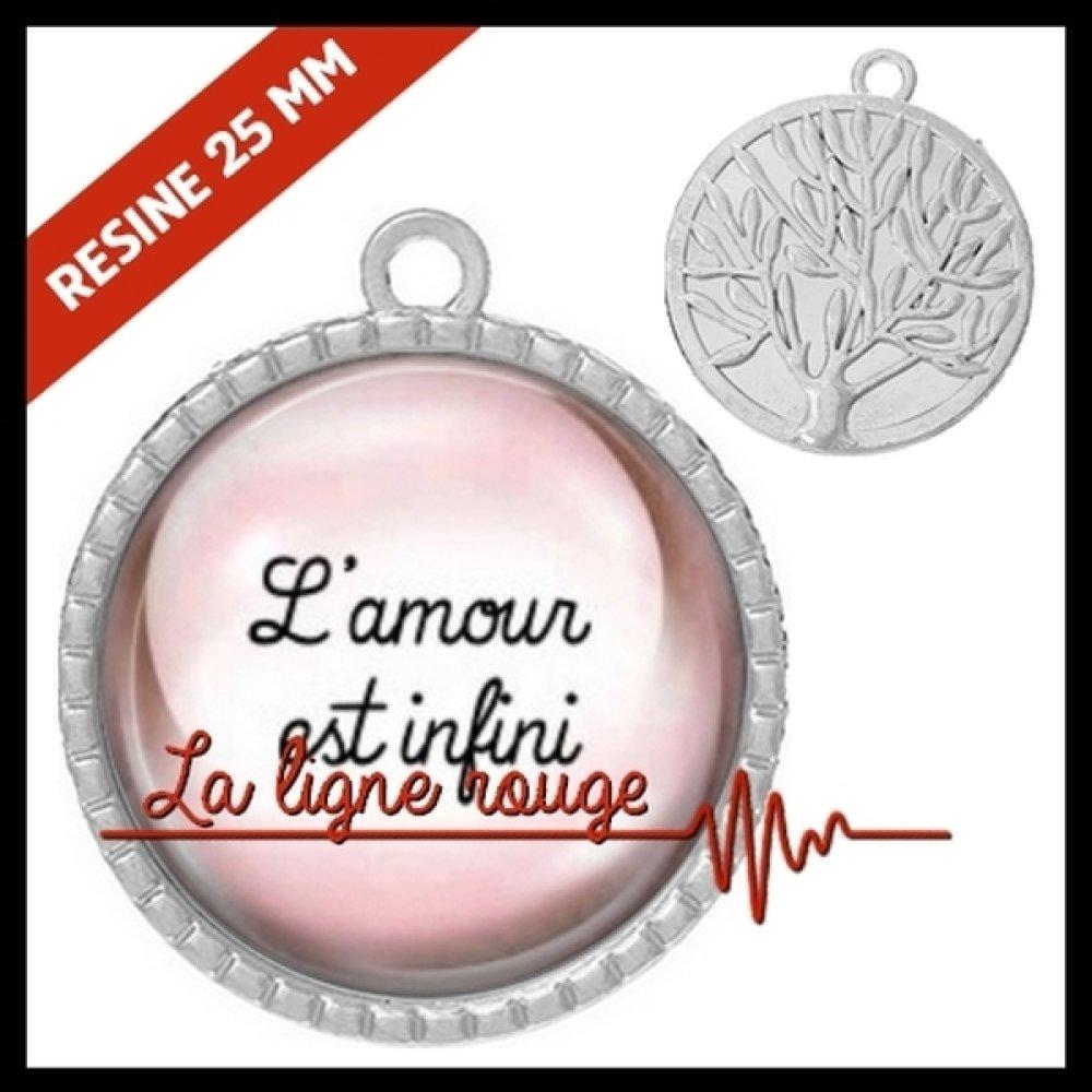 Pendentif couleur argent  ★ cabochon l'amour est infini ★ rond résine époxy ★ REF. 7813