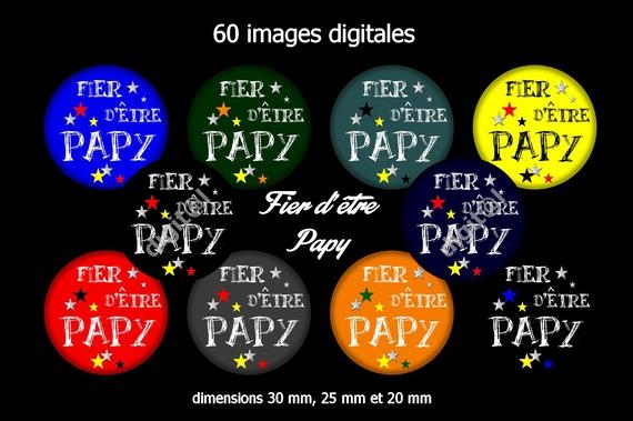 60 images digitales pour bijoux cabochons, scrapbooking, diamètre 30, 25 et 20 mm sur le thème fier d'être papy