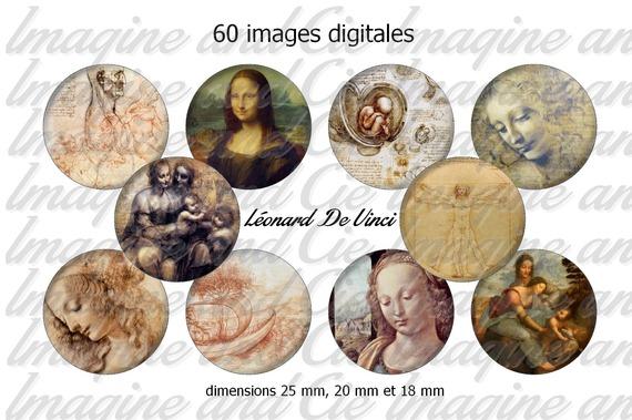 60 images digitales pour bijoux cabochons, scrapbooking, diamètre 25 mm, 20 mm, 18 mm sur le thème Léonard De Vinci