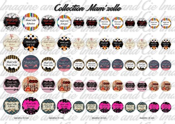 60 images digitales pour bijoux cabochons, scrapbooking, diamètre 30, 25, 20 et 18 mm sur le thème Mam'zelle