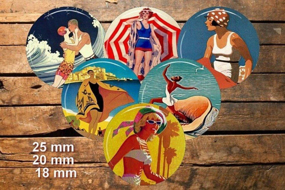 Sous le soleil à la plage / Cabochon image numérique feuille de collage téléchargement Diy digital printable bouteille cap