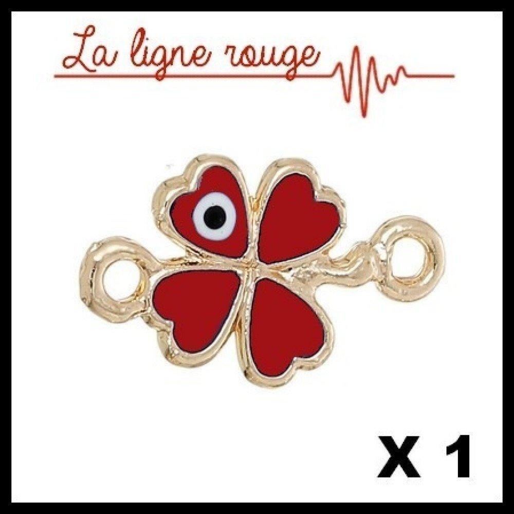 Connecteur Trèfle Mauvais oeil Doré Rouge, 20 x 12mm (Ref:568459)