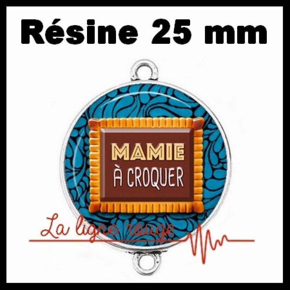 Connecteur argenté 25 mm cabochon dôme résine - mamie à croquer ( 2550 ) - famille, grand-mère