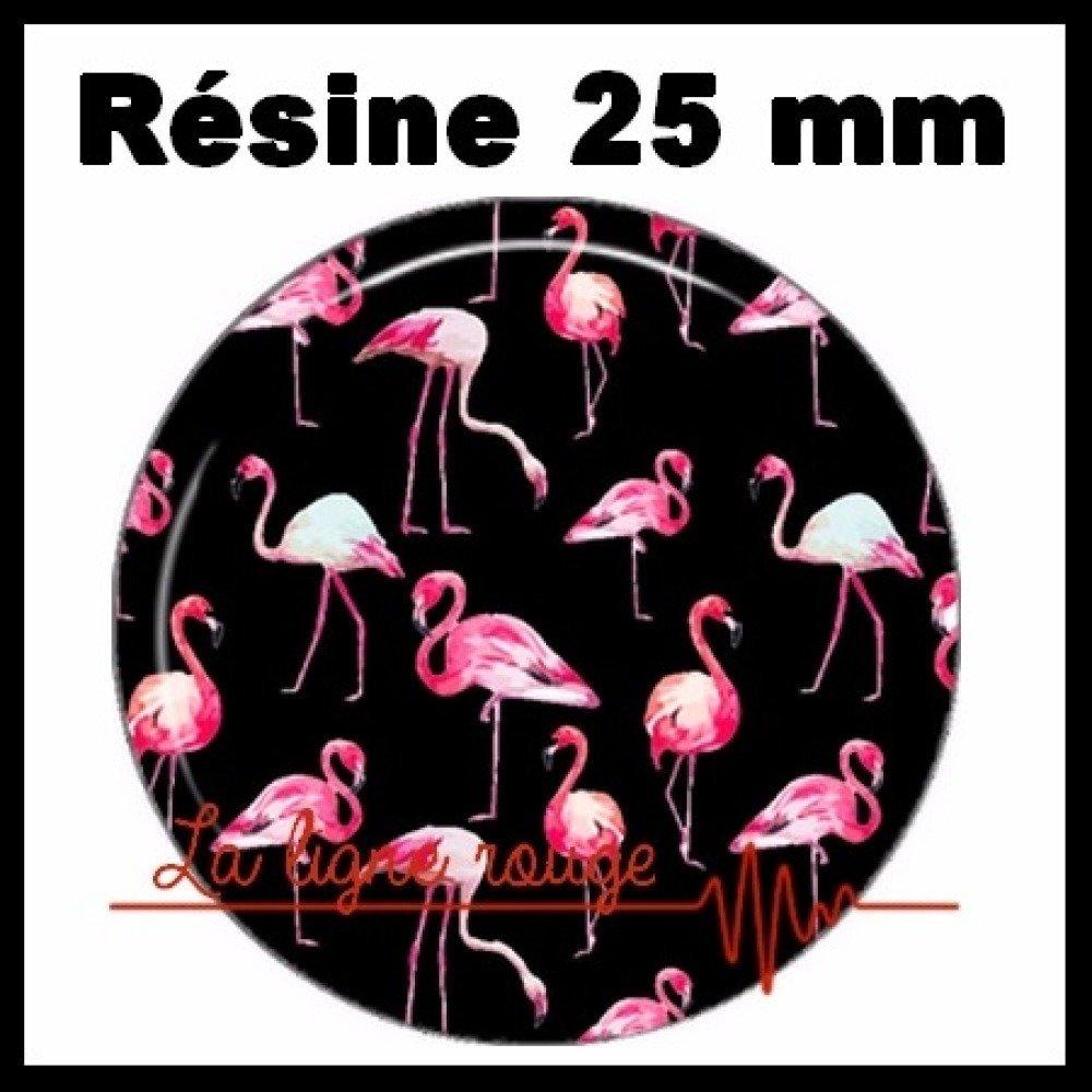 Cabochon rond à coller résine 25 mm - flamant rose ( 2572 ) - oiseau