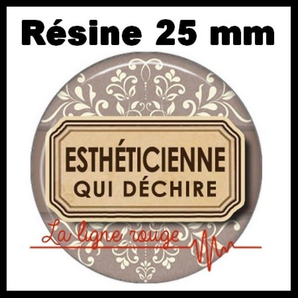 Cabochon rond à coller résine 25 mm -  esthéticienne qui déchire ( 3086 ) - cosmétique, texte, métier