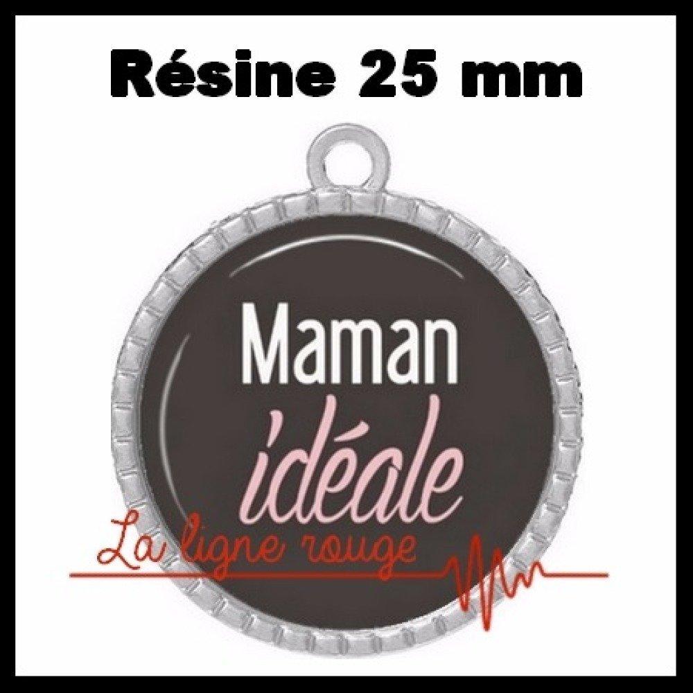 Pendentif couleur argent cabochon rond 25 mm résine époxy - maman idéale ( 2158 ) - texte, mot, fête des mères